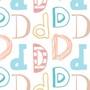 Letter D Pastels - Tan, Yellow, Peach, Pink, Blue, Teal