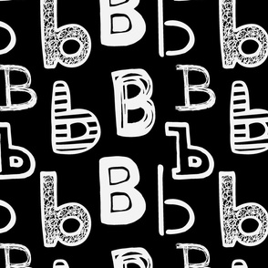 Letter B Black and Grey