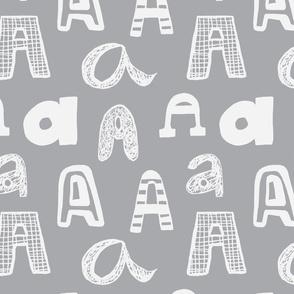 Letter A Medium Grey and Light Grey