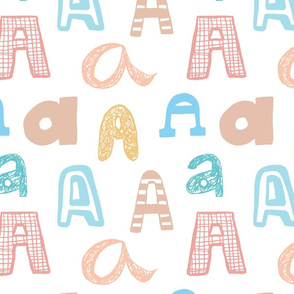 Letter A  Pastels - Tan, Yellow, Peach, Pink, Bue