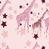 Baby giraffes pink and purple small