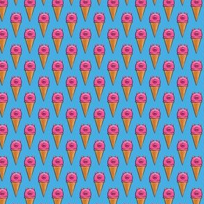 "(3/4"" scale) pig icecream cones on blue C19BS"