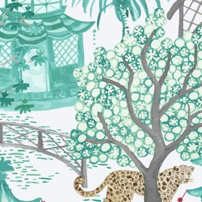 Leopards in the Pagoda Forest in Green