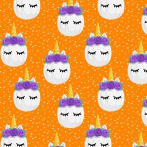 Unicorn Pumpkins - cute halloween - orange polka dots (purple) - LAD19