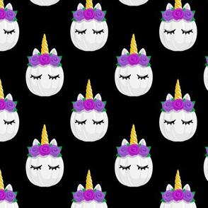 Unicorn Pumpkins - cute halloween - black (purple flowers) - LAD19