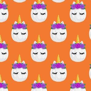 Unicorn Pumpkins - cute halloween - orange - LAD19