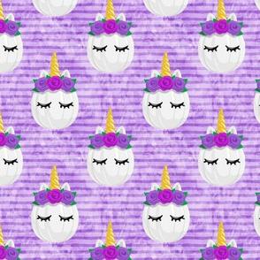 Unicorn Pumpkins - cute halloween - purple stripes (purple flowers) - LAD19