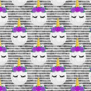 Unicorn Pumpkins - cute halloween - grey stripes (purple flowers) - LAD19