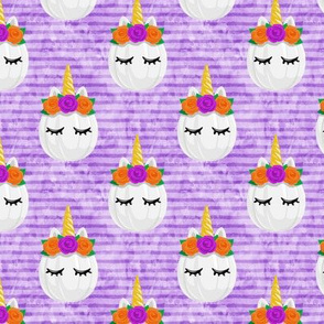 Unicorn Pumpkins - cute halloween - purple stripes - LAD19