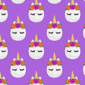 Unicorn Pumpkins - cute halloween - purple - LAD19