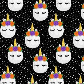Unicorn Pumpkins - cute halloween - black polka dots - LAD19