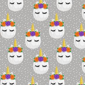 Unicorn Pumpkins - cute halloween - grey polka dots - LAD19