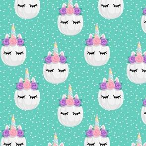 Unicorn Pumpkins - cute halloween - teal polka dots - LAD19