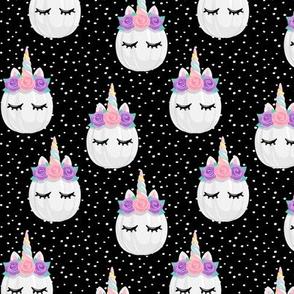 Unicorn Pumpkins - cute halloween - black polka dots (pink and purple) - LAD19