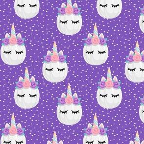 Unicorn Pumpkins - cute halloween - purple polka dots (pink and purple) - LAD19