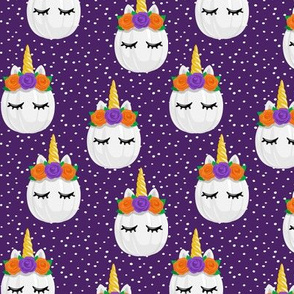 Unicorn Pumpkins - cute halloween - dark purple polka dots - LAD19