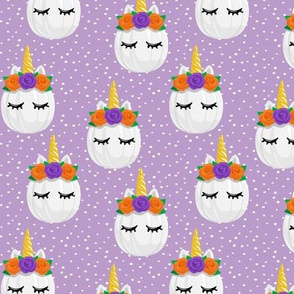 Unicorn Pumpkins - cute halloween - purple polka dots - LAD19