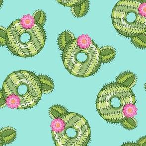 cactus donuts  - teal - doughnut - LAD19