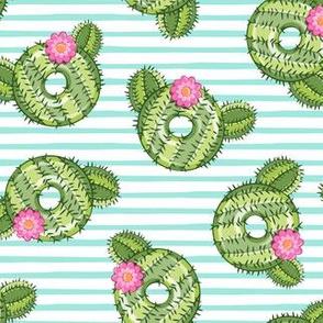 cactus donuts  - blue stripes - doughnut - LAD19