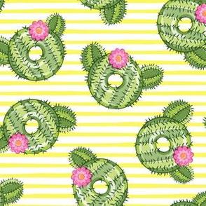 cactus donuts  - yellow stripes - doughnut - LAD19