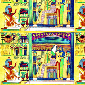 book of the dead  Osiris God ancient egypt egyptian goddess gods death hieroglyphics Isis Nephthys Four Sons Horus lotus Cobra snakes papyrus man afterlife souls tribal yellow brown  green blue scrolls funerary underworld deities spells  Imsety Duamutef H