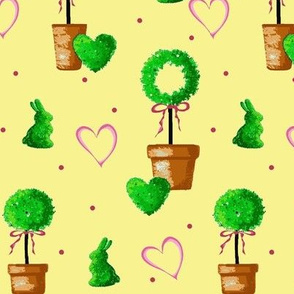 Boxwood Bunny / Potted Topiaries on Yellow