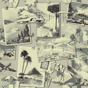 The Wall of retro Postcards (BW02) - Spoonflower