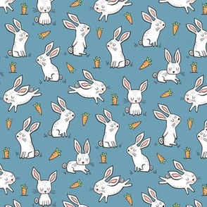 Bunnies Rabbits & Carrots On Dark Blue 1,5 inch