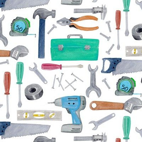 Tools - blue green brown, Kids Room Bedding