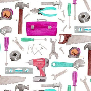 Tools for Girls - pink green coral mint, Kids Room Bedding
