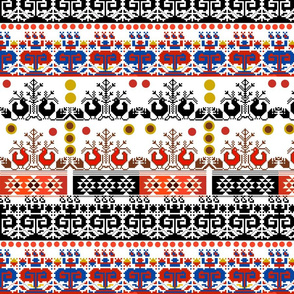 Scandi Aztec (red, orange, blue) on white