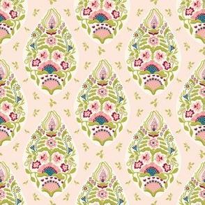 Hand drawn arabesque floral paisley damask