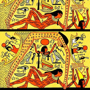 ancient egypt egyptian gods goddesses hieroglyphics world creation beginning Nut mother sky Seb husband wife earth Shu Wind Air eye horus Ankh stars Maat heaven boats yellow orange tribal birds falcon pharaoh kings crown