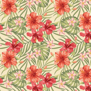 small Painterly Hibiscus grouped on beige