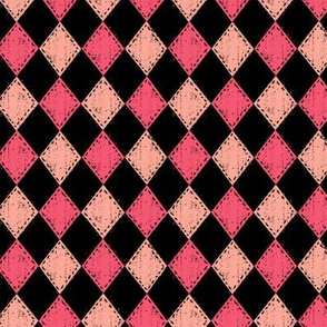 Pink and Black Checker Diamond
