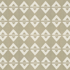 Woodblock Linen . Desert Triangles