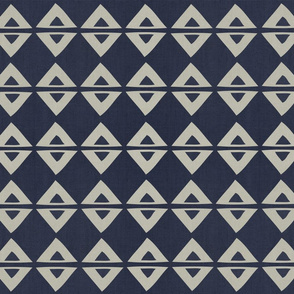 Woodblock Linen . Indigo Triangles