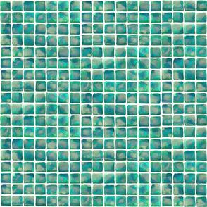 Green Watercolor Tiles, 1in
