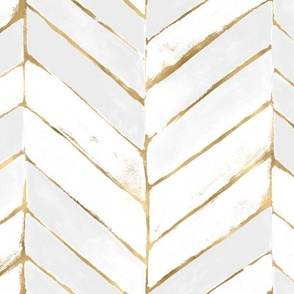 chevron painted white + gold - L