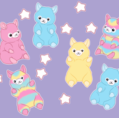 Pastel Alpacas on Purple