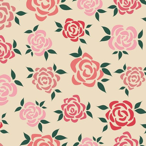 Pink-Red Floral Pattern
