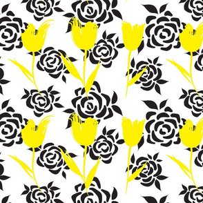 White, Black and Yellow Floral