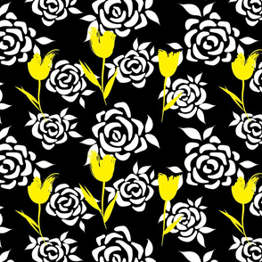 Black and White with Yellow Flowers