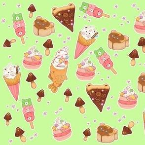 Kawaii Desserts on Light Green