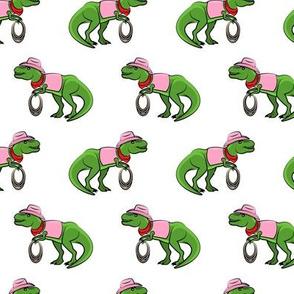 Cowgirl Tyrannosaurus rex - Trex dinosaur - white - LAD19