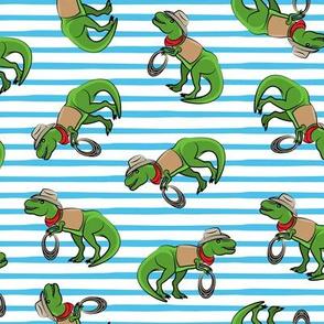 Cowboy Tyrannosaurus rex - Trex dinosaur - blue stripes - LAD19