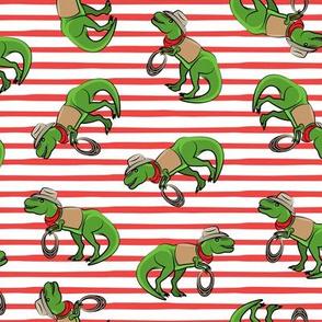 Cowboy Tyrannosaurus rex - Trex dinosaur - red stripes - LAD19