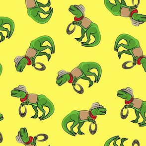 Cowboy Tyrannosaurus rex - Trex dinosaur - yellow toss - LAD19