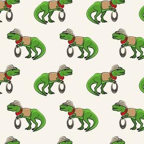 Cowboy Tyrannosaurus rex - Trex dinosaur - cream - LAD19