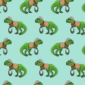 Cowboy Tyrannosaurus rex - Trex dinosaur - aqua - LAD19